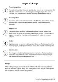 stages of change worksheet therapist aid