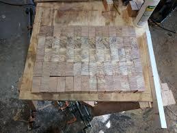 end grain heart pine butcher block album on imgur all cut ready for glue