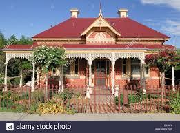 domestic colonial style house bendigo victoria australia stock