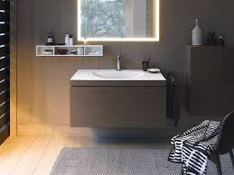 bathroom wall mounted vanity unit with duravit sink and brown