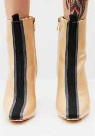 heeled stripe ankle booties dolls kill