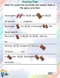 money word problem solving one step inequalities worksheet