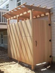 Teak Outdoor Shower Enclosure by Outdoor Shower Kit Next Shower Economy Shower Enclosure Now In