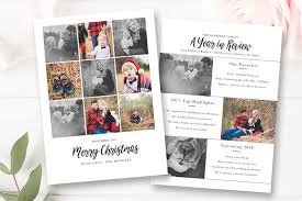 year in review christmas card year in review christmas card card templates creative market