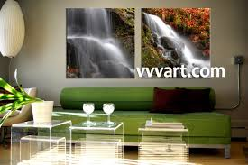 2 piece white waterfall canvas photography 2 piece canvas wall art landscape wall art scenery artwork forest wall art
