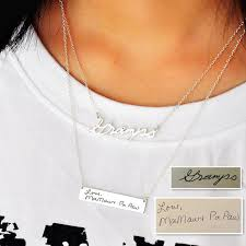 personalized memorial necklace silver signature necklace set personalized engraved bar custom
