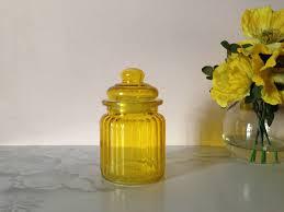 yellow glass jar bright sunshine yellow glass canister jar yellow glass jar bright sunshine yellow glass canister jar apothecary jar decor kitchen storage