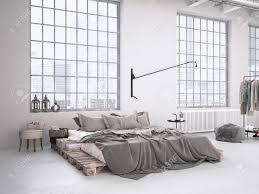 Loft Modern Modern Industrial Bedroom In A Loft 3d Rendering Stock Photo
