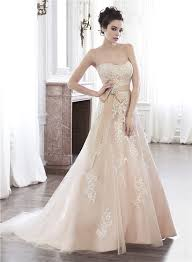 Champagne Wedding Dresses Line Strapless Champagne Color Lace Applique Wedding Dress With