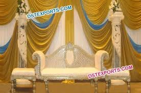 Indian Wedding Chairs For Bride And Groom Pillar Asian Wedding Stage Furniture