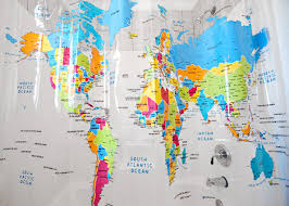 Bed Bath And Beyond Shower Curtain World Map Shower Curtains Curtains Decoration