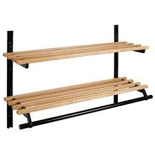 wall mounted double shelf wooden coat rack 24 inches 150 119 024