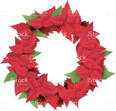 cartoon christmas wreath with flowers of poinsettia stock vector
