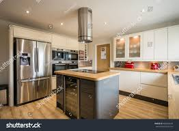 modern kitchen island modern domestic kitchen stock photo