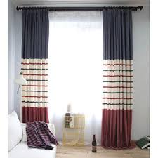 blue horizontal striped print polyester insulated modern window