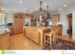 kitchen with butcher block island stock image image 12656831
