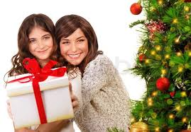 Mother Daughter Christmas Ornaments Happy Mother And Daughter On Xmas Eve Stock Photo Colourbox