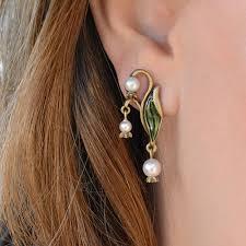 sweet earrings of the valley nouveau pearl flower wedding earrings by