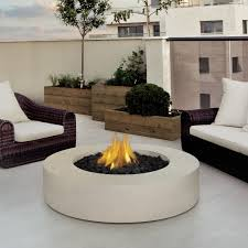 brilliant modern rounded coffee table with center fireplace and