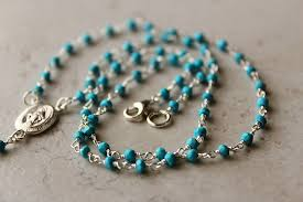 rosary necklace silver images Turquoise rosary necklace blue stone rosary style 925 sterling jpg