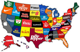 Map Usa States by Famous U S Brands By State Indexmundi Blog