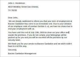 letter of termination of employment termination letter for