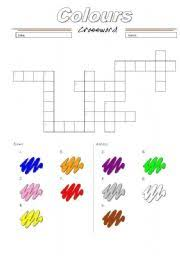 english teaching worksheets colours crossword