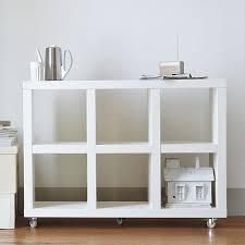 west elm white bookcase rolling storage west elm