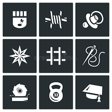vector set of prison icons prisoner isolation supervision