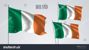 Flags That Are Orange White And Green Ireland Waving Flag Set Vector Illustration Stock Vector 704204665