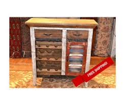 rustic distressed reclaimed wood wine cabinet with wine rack and