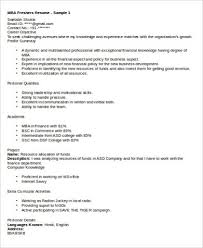 Resume Format For Mba Finance Freshers Pdf Sample Mba Marketing Resume 6 Examples In Word Pdf