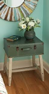 awesome stacked vintage suitcase nightstand with glass top tray