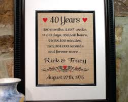 40th wedding anniversary gift 40 years married etsy