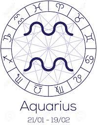 zodiac sign aquarius astrological symbol in wheel with