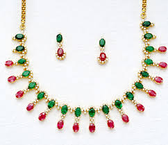 emerald ruby necklace images Diamond gemstone necklace 4 47 ct emerald ruby gold everyday jpg