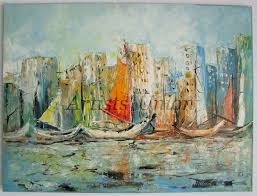 seascape original oil painting yachts harbor boats port ships harbour impasto palette knife linen
