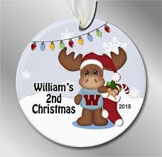 baby u0027s first christmas ornament moose santa by oneofakindalways