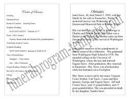 Memorial Booklet Sample Obituary Program Template Examples