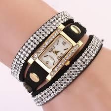 leather wrap bracelet watches images Women leather strap quartz ladies crystal bow bracelet chain charm jpg