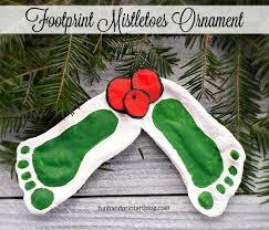 mistletoe footprint ornament made with salt dough