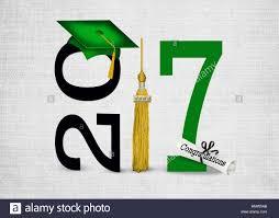 gold tassel graduation green graduation cap for 2017 with gold tassel stock photo