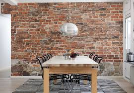 wallpaper in dining room captivating dining room design with brick wall and long wood