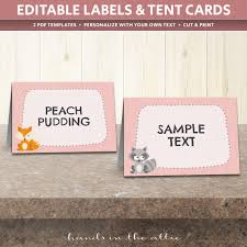 woodland animals table tent cards template table place cards