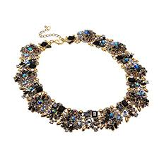 gold statement collar necklace images Jerollin vintage gold tone chain multi color glass crystal collar jpg