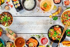 cuisine stock food served on white wooden table top view space for stock