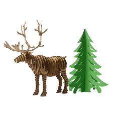 decoration christmas tree and reindeer 3d puzzle diy model paper