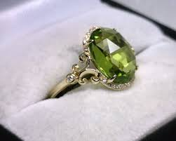 peridot engagement rings rg jewelers 14k yellow gold peridot diamond ring