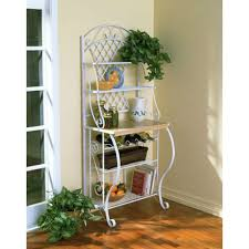 Bakers Racks For Kitchens White Metal Bakers Rack With 5 Shelves For Kitchen Or Pantry