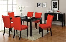Black Gloss Dining Table And 6 Chairs 7pc Lamia Black High Gloss Lacquer Dining Table Set 6 Red Chairs